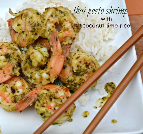 thai pesto shrimp with coconut lime rice