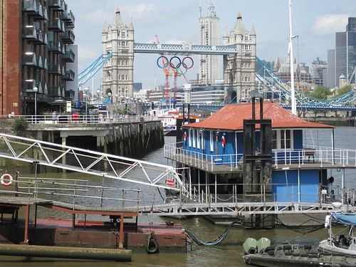 Tower Bridge and the Olympic rings from Butlers Wharf