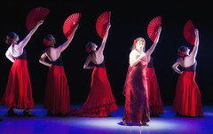 Flamenco dancers and singer on a dark stage