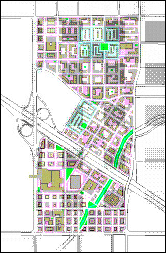 the students' street grid, with green spaces (courtesy of Shay and Amir Levanon)