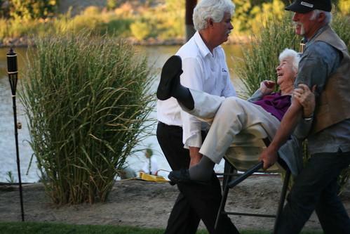 carrying grandma