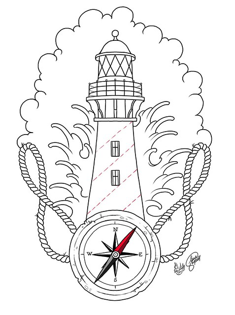 traditional lighthouse tattoo outline sketch coloring page