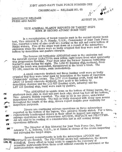 News Release for Test BAKER August 26 1946