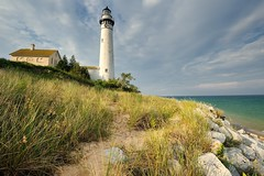 """Evening Light""  South Manitou Island Lighthouse Michigan's Sleeping Bear Dunes National Lakeshore by Michigan Nut"