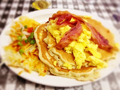 meal, breakfast, omurice, meat, produce, food, dish, scrambled eggs, cuisine,
