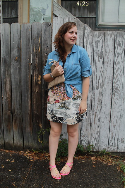 Chambray and mixed prints outfit: