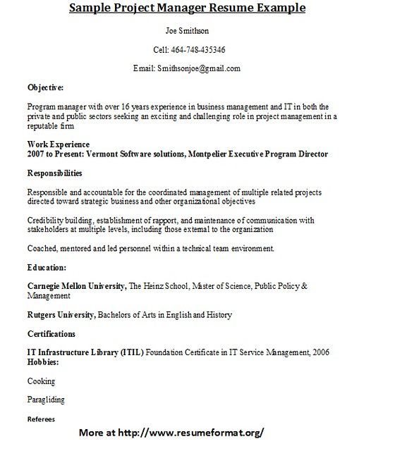 Sample Project Manager Resume | Flickr - Photo Sharing!
