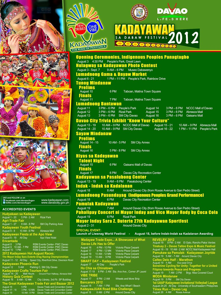 kadayawan 2012 schedule of activities