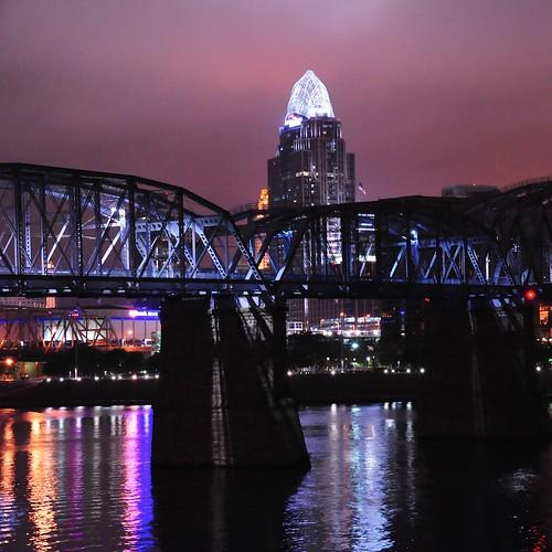 bridge sunrise reflections ohioriver newportky cincinnatiohio purplepeoplebridge nikond700