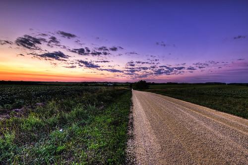road blue sunset sky orange usa green nature grass clouds rural landscape photography gold purple image pentax farm country sigma photograph lane 1020mm hdr gravel 2012 k5 photomatix sigma1020mmf456 kohlbauer hardpancom marckohlbauer