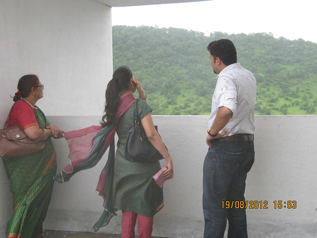 Sunil & Harneet with their mother on the terrace of A 5 - Visit Sparklet - Megapolis Smart Homes 1, Hinjewadi Phase 3, Pune on 19th August 2012
