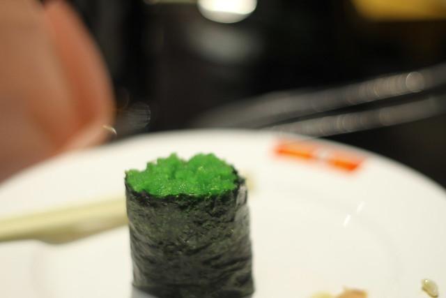 green caviar, tobiko