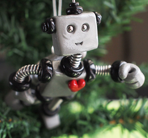 Black Bixly Robot with Jetpack Christmas Ornament