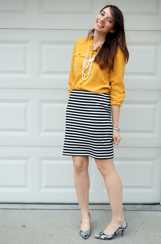 yellow shirt and black and white Merona Target skirt with snakeskin pumps