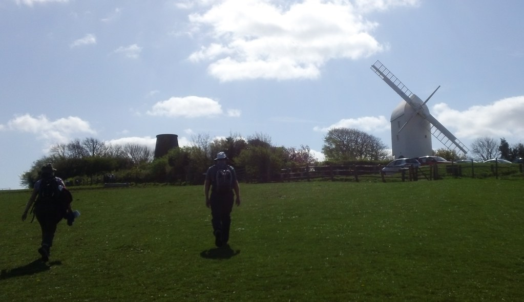 2 walkers, 2 windmills, 1 set of sails Jack & Jill, along the South Downs Way, Clayton, Sussex