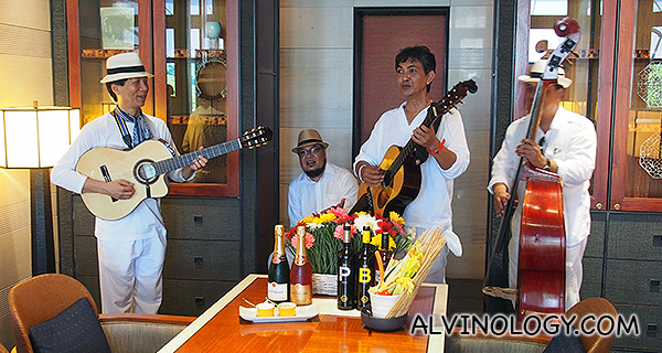 Roving live band serenades guests during brunch at The Knolls, Capella Singapore
