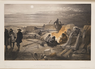 A Quiet Night in the Batteries. A Sketch in the Greenhill Battery (Major Chapman's) 29th Jany. 1855.