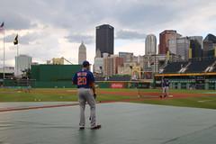 Neil Walker facing the Pittsburgh skyline