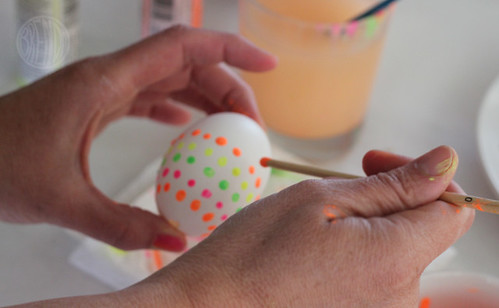 adding dots to Easter egg with paint