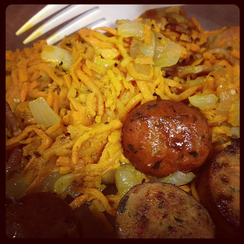 Lunch: sweet potato hash and chicken sausage. Mmm. #primal #paleo