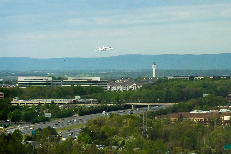 Space Shuttle Discovery's First Pass over Dulles