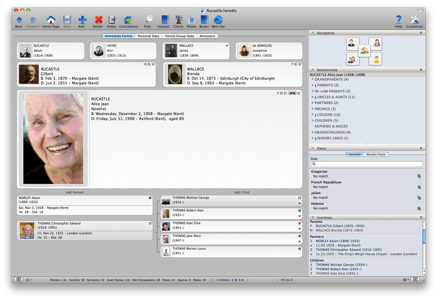 Heredis for Mac 2012 - Immediate Family
