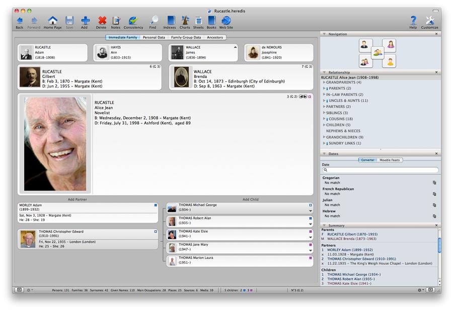 Heredis for Mac 2012 - Immediate Family