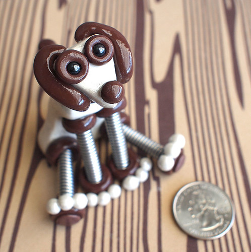 Mini Robot Dog Sculpture White Brown Mikey by HerArtSheLoves