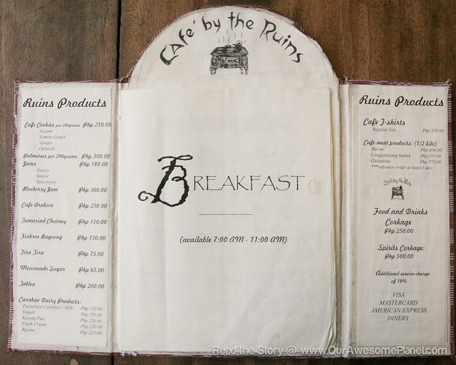 Cafe By The Ruins Baguio Menu