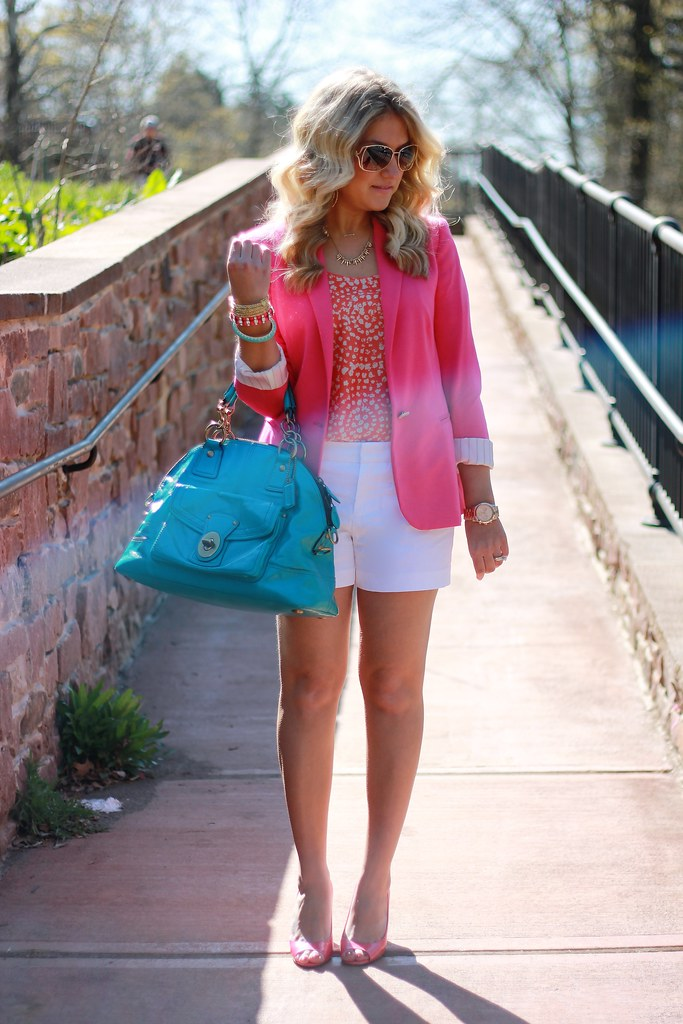 pink, coral, white, turquoiae outfit idea