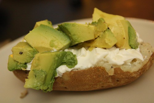 Baked Potato with Sour Cream and Avocado