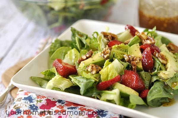 Strawberry, Avocado and Spiced Nut Spinach Salad