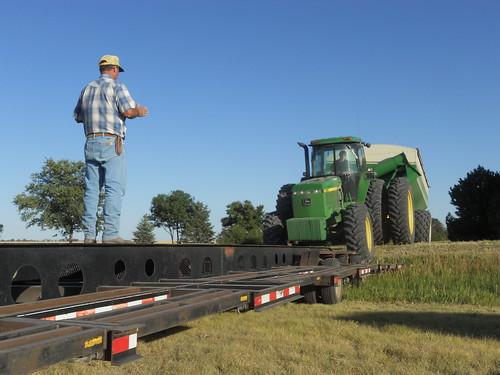 Farmer Dave directed Danny as he loads the graincart