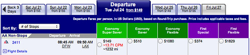Fare Search DFW to Los Angeles