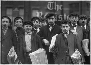 High school route boys. Adolescents. Some in back row have been newsboys for seven, eight, and nine years. New Haven, Conn, March 1909