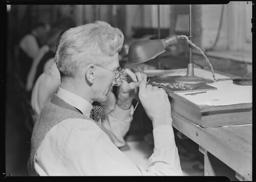 Hamilton Watch. Inspecting plate - skilled inspecting job, 1936