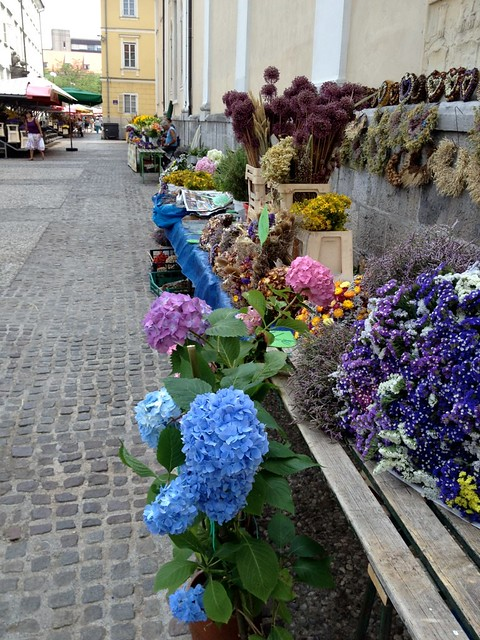 Flowers for sale at a market in Ljubljana