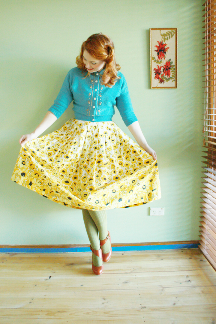 vintage blue cardigan yellow skirt e