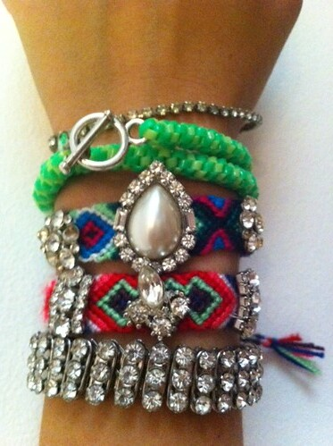 Neon and rhinestone bracelets