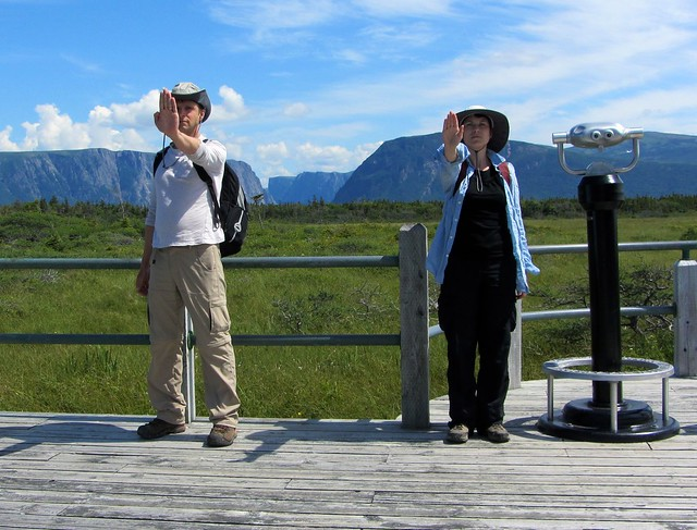 Doin' the Argonath at Western Brook Pond