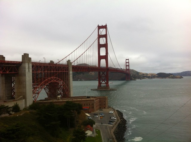 View of GG bridge atop Fort Point