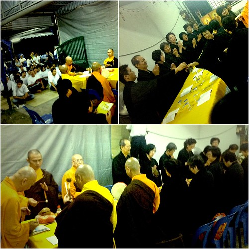 The monks and volunteers leading the prayers