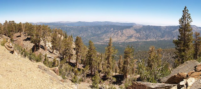 Panorama view north toward Big Bear Lake from the Trail Fork Springs Camp