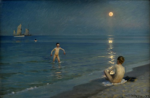 Peder Severin Krøyer - Boys Bathing at Skagen, Summer Evening [1899] by Gandalf's Gallery