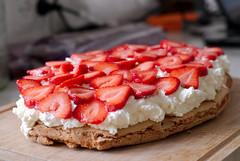 meal(0.0), strawberry pie(0.0), plant(0.0), bruschetta(0.0), produce(0.0), torte(0.0), raspberry(0.0), breakfast(1.0), pavlova(1.0), strawberry(1.0), baked goods(1.0), fruit(1.0), food(1.0), dish(1.0), dessert(1.0), cuisine(1.0),