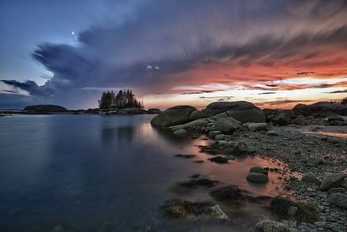 sunset moon clouds islands rocks maine lowtide