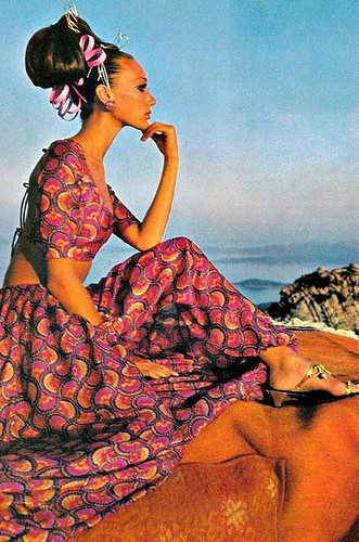Marisa in a harem dress by Savita, photo by Henry Clarke in Sardinia for Vogue, 1968