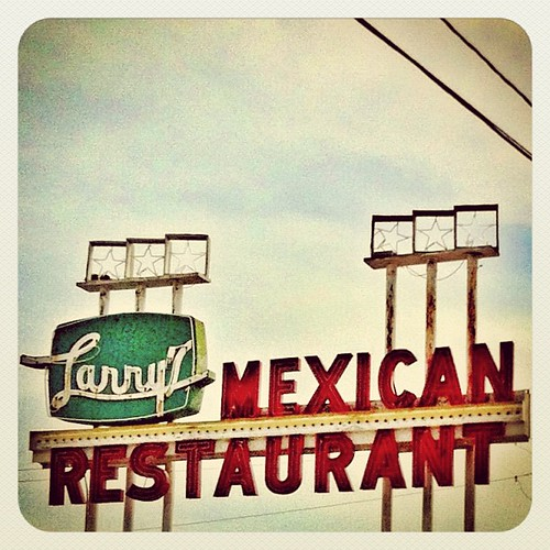 The other vintage neon sign for Larry's Mexican Restaurant in Rosenberg, Texas