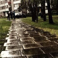 Men Walking Through the Rain