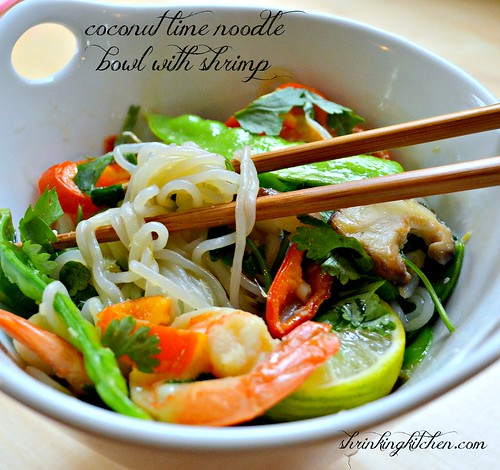 coconut lime noodle bowl with shrimp - shiritaki noodles